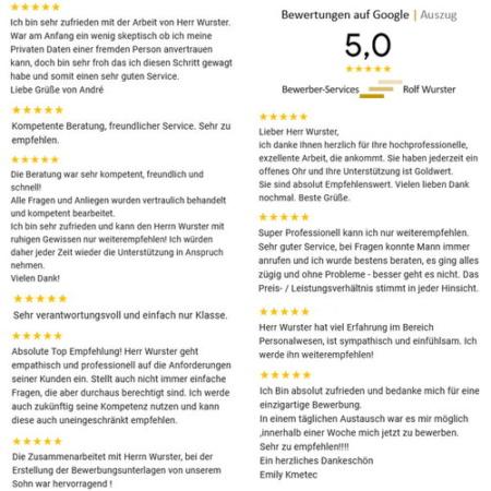 Bewerber-Services | Rolf Wurster. Bewertungen auf Google.